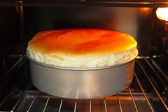 在烤箱的自创乳酪蛋糕 免版税库存照片