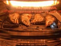 在烤箱的被烘烤的泰国鲭鱼 免版税库存照片