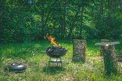 在烤肉木炭格栅的火 烤在weber类型s的食物 免版税图库摄影