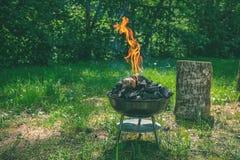 在烤肉木炭格栅的火 烤在weber类型s的食物 图库摄影
