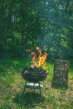 在烤肉木炭格栅的火 烤在weber类型s的食物 库存照片