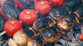 在烤肉格栅的菜串 影视素材