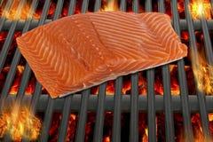 在烤肉的三文鱼内圆角 库存图片