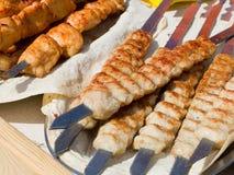 在烤肉的开胃可口油煎的肉烤户外 Se 库存图片