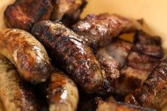 在烤肉的开胃油煎的香肠 免版税库存图片