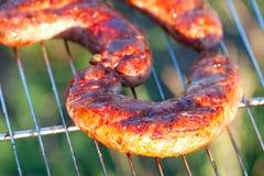 在烤肉的开胃肉香肠 库存照片