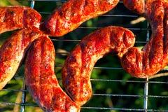 在烤肉的开胃肉香肠 库存图片