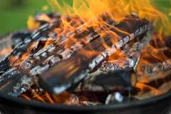 在烤肉的木柴 库存照片