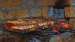 在烤肉的烤肉 库存图片