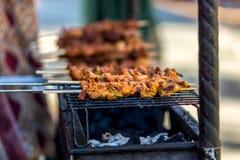 在烤肉的肉kebab 图库摄影
