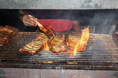 在烤肉的肋骨 免版税库存照片