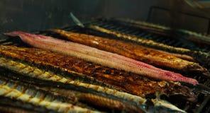 在烤肉的鳗鱼 库存照片