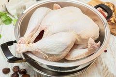 在烧烤平底锅的新鲜的未加工的火鸡 库存图片