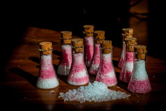 在烧瓶的盐 库存图片