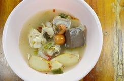 在热和辣汤姆汤的煮沸的鸡在碗 库存照片
