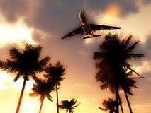 在热带天空的飞机 库存图片