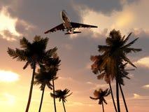 在热带天空的飞机 免版税库存图片