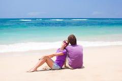 在热带巴厘岛的新美好的夫妇 库存照片