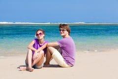在热带巴厘岛的新美好的夫妇 免版税图库摄影