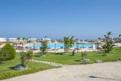 在热带手段游泳池的看法 免版税库存照片