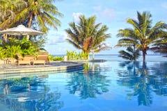 在热带手段的游泳池在日落 库存图片