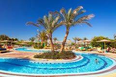 在热带手段的游泳池在Hurghada,埃及 库存图片