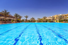 在热带手段的游泳池在Hurghada 免版税库存照片
