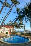 在热带手段的游泳池 免版税图库摄影