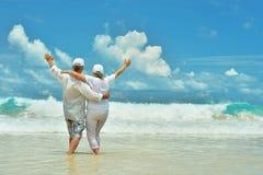 在热带手段的年长夫妇休息 库存图片