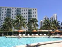 在热带旅馆附近的水池 免版税图库摄影