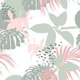 在热带样式的创造性的普遍花卉背景 手拉的纹理