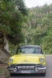 在热带森林设置的黄色古巴出租汽车 免版税库存图片