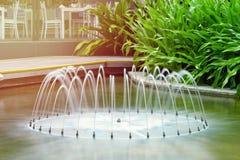 在热带植物背景的美丽的喷泉  位于subtropics的一家旅馆 r 免版税图库摄影