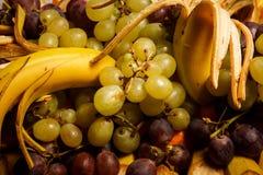 在热带水果的分类的顶视图特写镜头在大板材的 库存图片