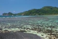 在热带海岛上的海湾 白鹅Lazare, Mahe,塞舌尔群岛 免版税库存图片