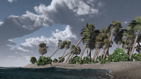 在热带海岛上的雷暴 图库摄影