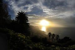 在热带海岛特内里费岛,加那利群岛的美好的日落 免版税库存照片