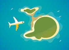 在热带海岛的飞机 免版税库存照片