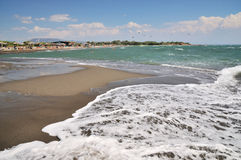 在热带海滩的通知 免版税库存照片