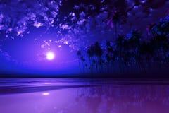 在热带海的紫色月亮 库存照片