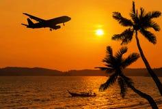 在热带海滩和可可椰子树的日落与飞过剪影的飞机 免版税库存照片
