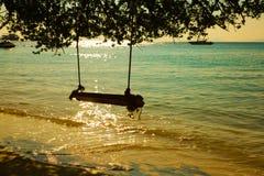 在热带海滩的摇摆吊 库存照片