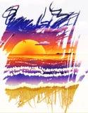 在热带海滩的日落 免版税库存图片
