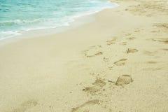 在热带海滩的桑迪脚印 库存照片