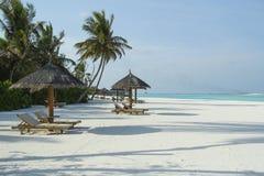 在热带海滩的海滩睡椅在马尔代夫,印度洋 库存图片