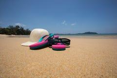 在热带海滩的海滩辅助部件 库存图片