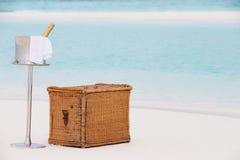 在热带海滩的豪华香宾野餐 库存图片