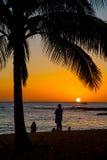 在热带海滩胜地的日落场面 免版税库存照片