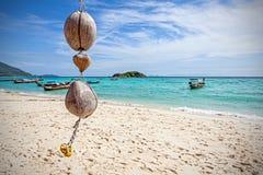 在热带海滩,自然背景的独特的椰子装饰 免版税库存照片
