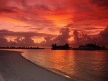 在热带的日落的海滩 免版税库存照片